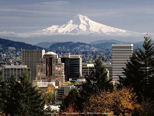 "Ref.# 10082 - ""Portland, Mt Hood"" Copyright 2000 Erskine Wood"