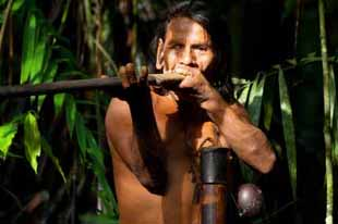 Typical huaorani hunter portrait, waorani reserve, Yasuni national park, Ecuador. Shoot in the jungle in ambient light.